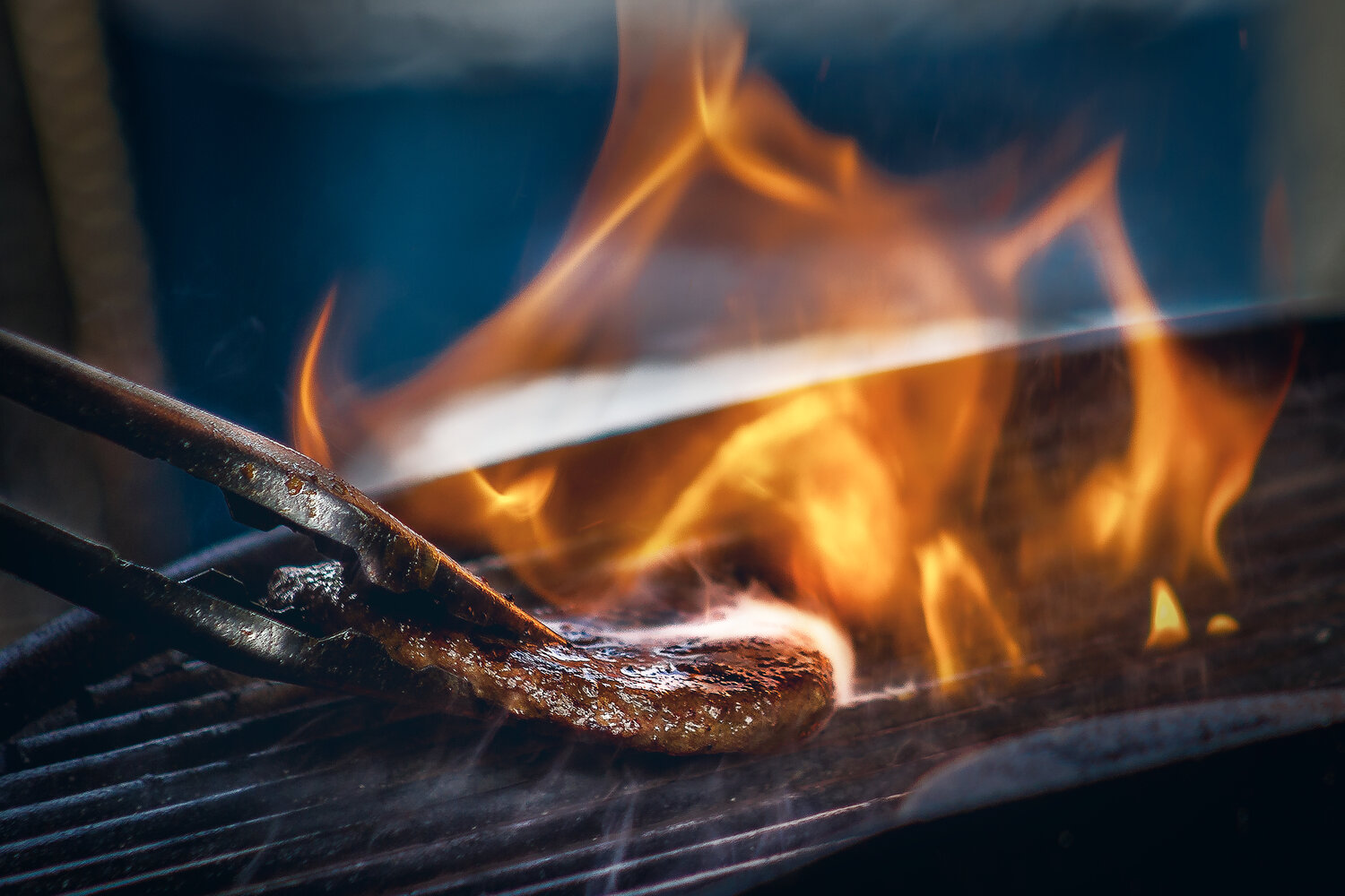 Grilling Steak with Fire